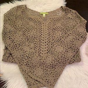 SIGRID OLSEN Open Knit Khaki Pullover Top
